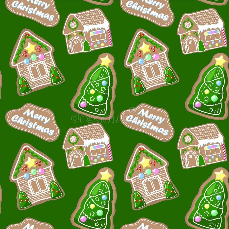 Modello senza cuciture di Buon Natale con le case di pan di zenzero e l'albero di abete Pan di zenzero con la decorazione della g illustrazione vettoriale