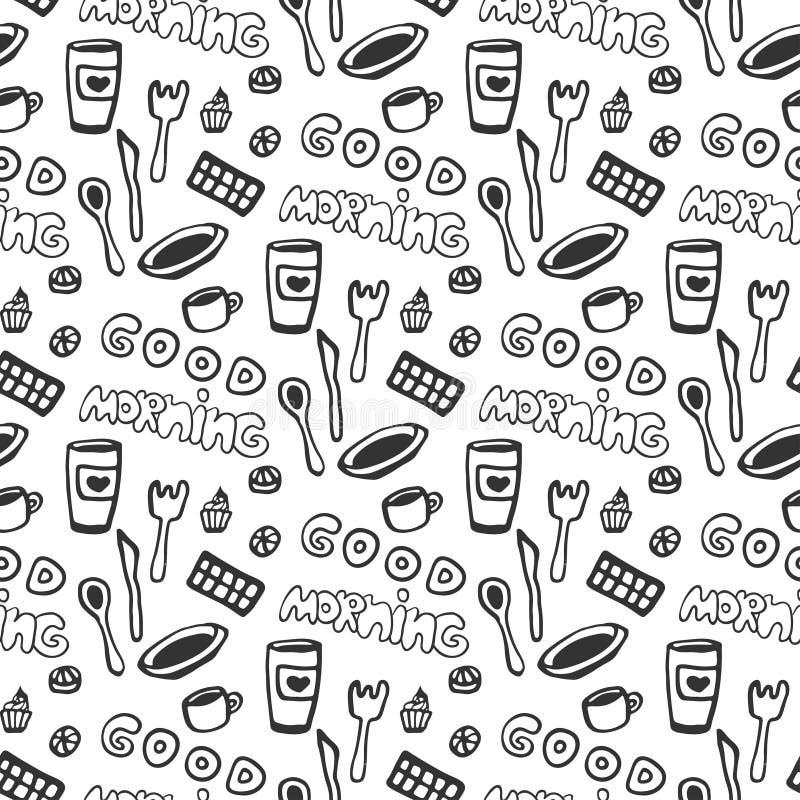 Modello senza cuciture di buongiorno Vector il modello senza cuciture con le tazze di tè di scarabocchio, il piatto, il cioccolat royalty illustrazione gratis