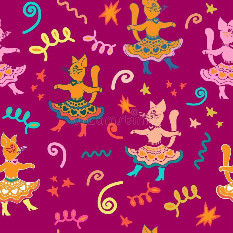 Modello senza cuciture di carnevale con ballare i gatti divertenti del fumetto illustrazione vettoriale