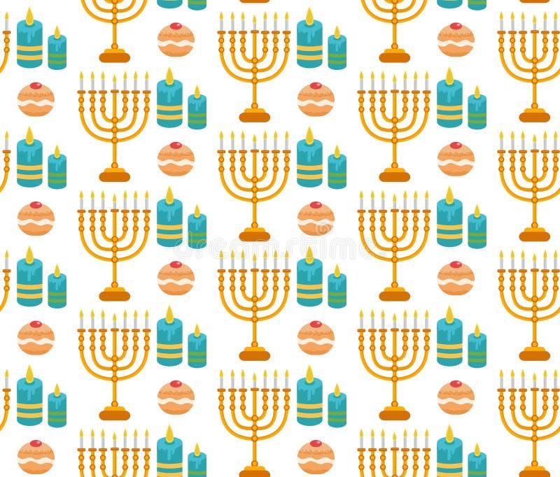 Modello senza cuciture di Chanukah Priorità bassa di Hanukkah con Menorah immagini stock libere da diritti