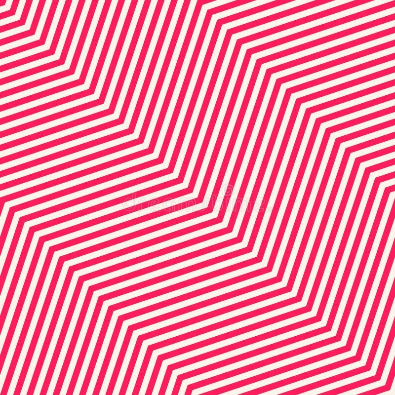 Modello senza cuciture di Chevron Struttura bianca e di rosa con le linee diagonali sottili di zigzag illustrazione vettoriale