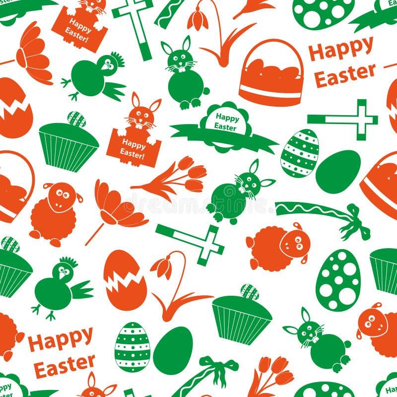 Modello senza cuciture di colore delle icone varie di Pasqua illustrazione vettoriale