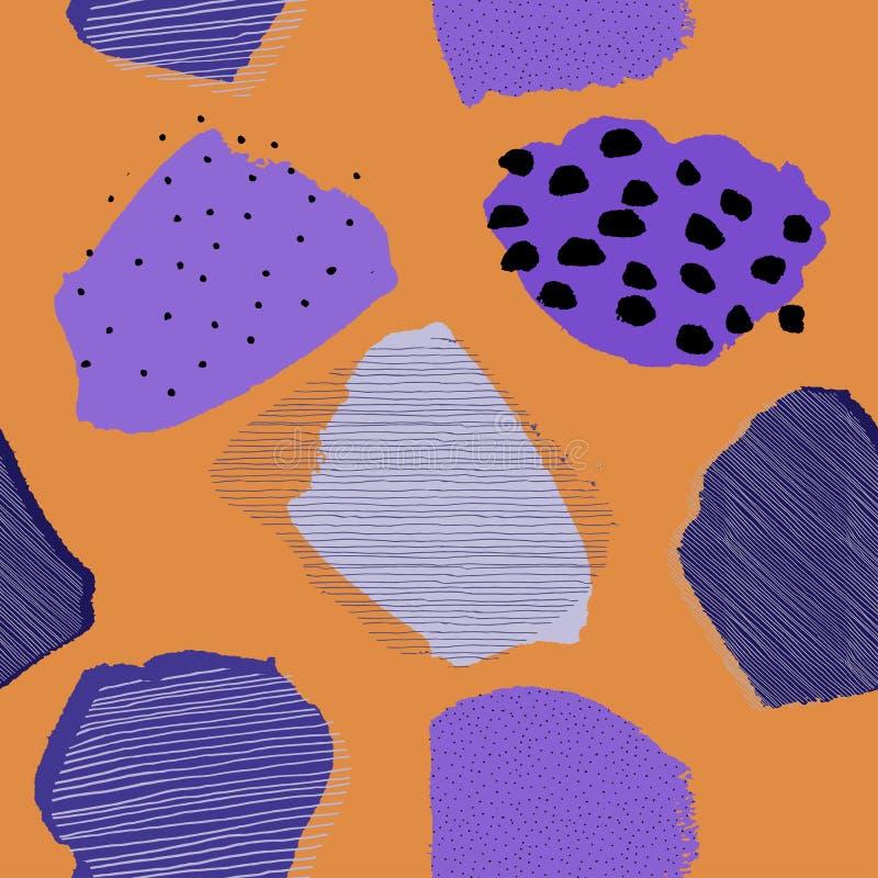 Modello senza cuciture di contrasto delle bacche astratte contemporanee del collage illustrazione di stock