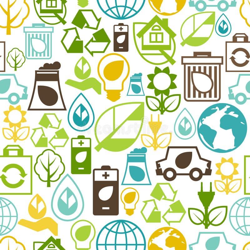 Modello senza cuciture di ecologia con le icone dell'ambiente illustrazione vettoriale