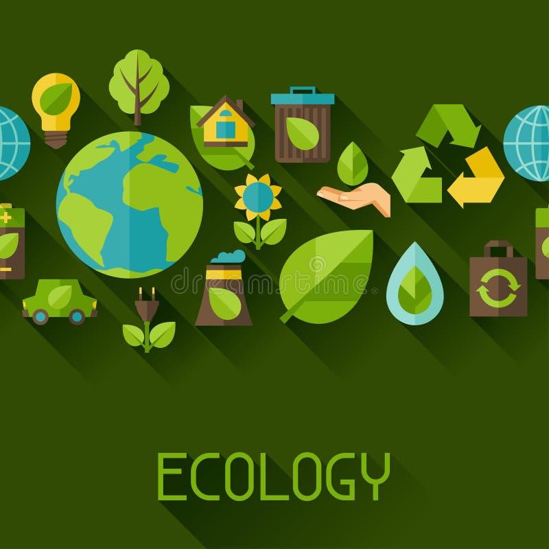 Modello senza cuciture di ecologia con le icone dell'ambiente royalty illustrazione gratis