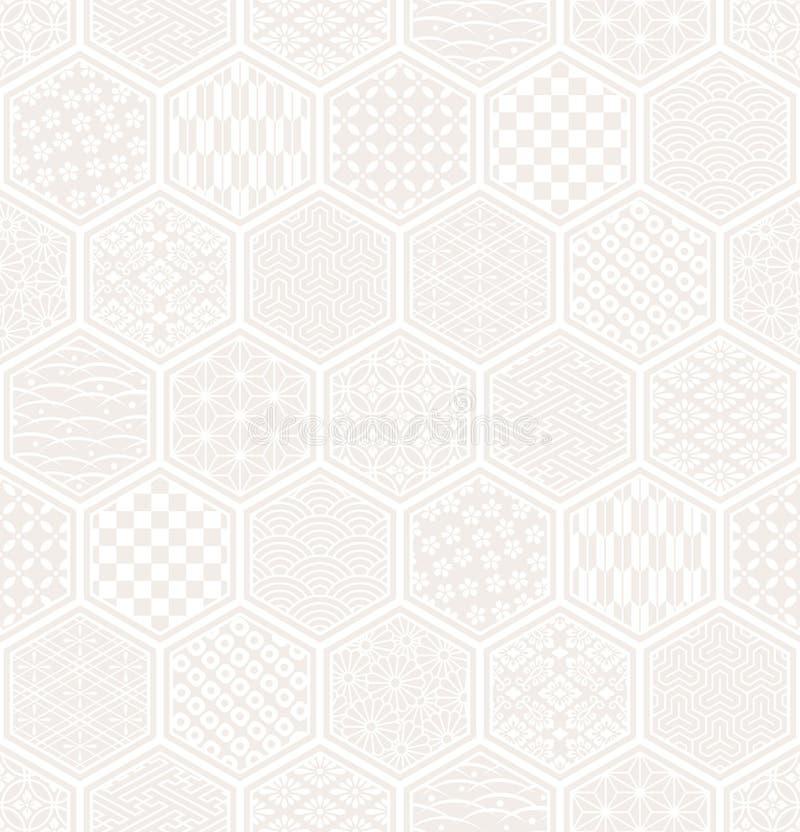 Modello senza cuciture di esagono con progettazione tradizionale giapponese. royalty illustrazione gratis