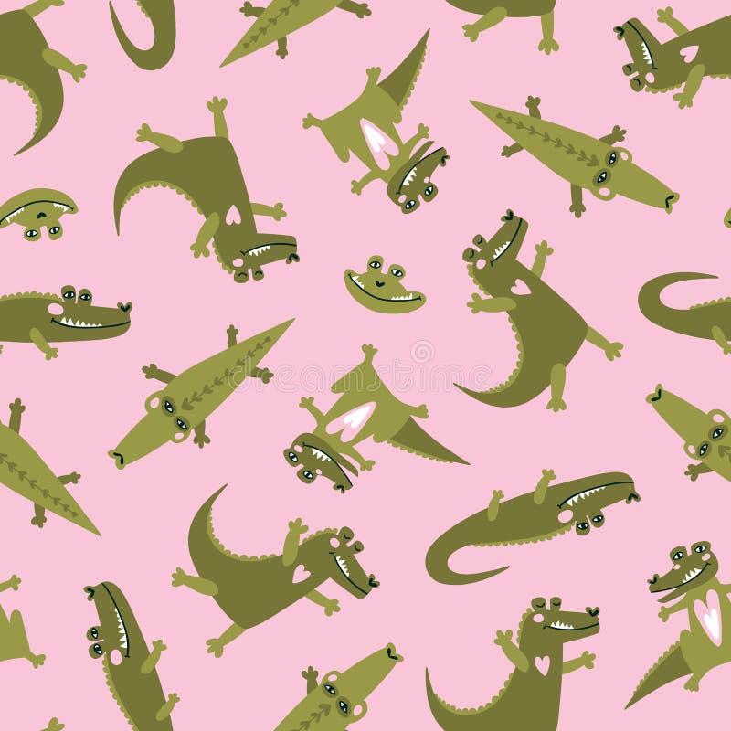 Modello senza cuciture di estate con i coccodrilli svegli Fondo ripetuto zoo Stampa luminosa di vettore per il tessuto o la carta royalty illustrazione gratis