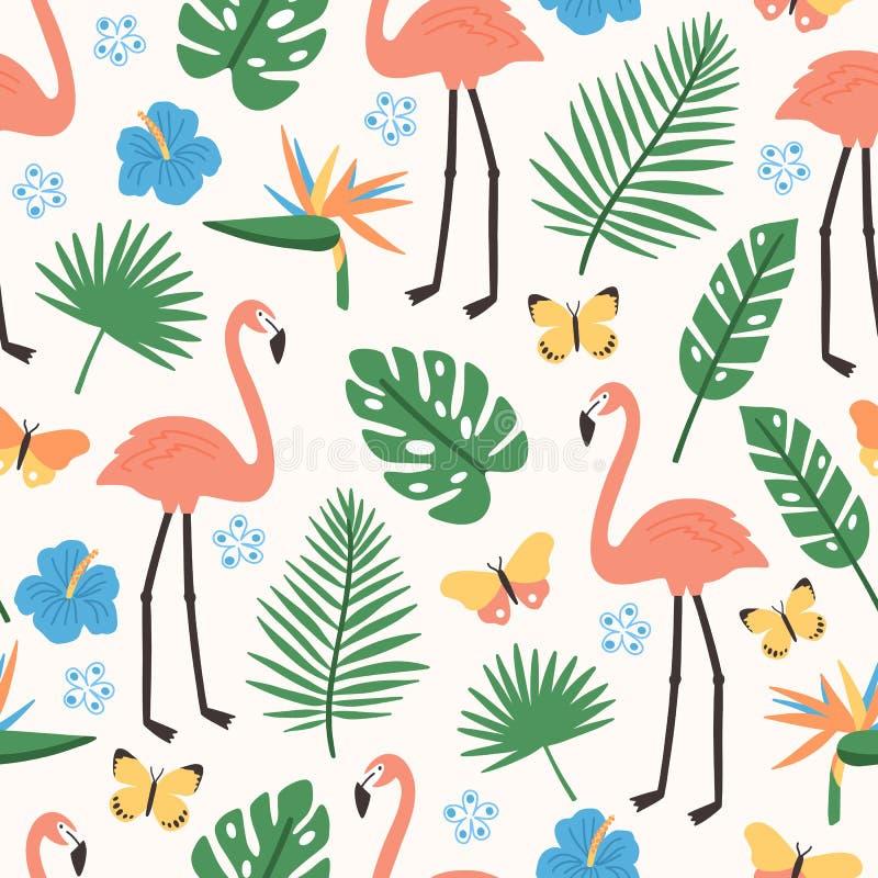 Modello senza cuciture di estate con il fogliame esotico della giungla, i fenicotteri rosa, i fiori di fioritura esotici e le far illustrazione di stock