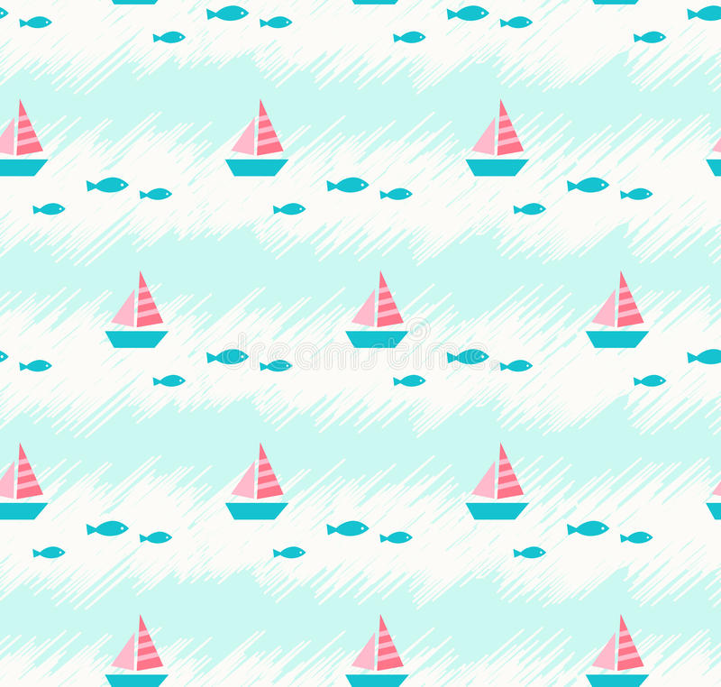 Modello senza cuciture di estate con le barche ed i pesci illustrazione vettoriale
