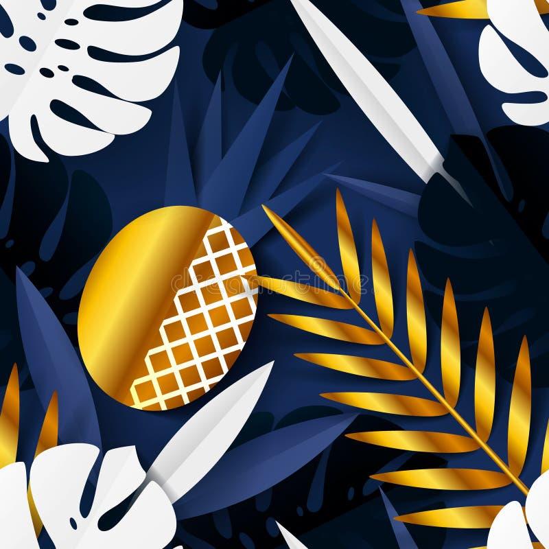 Modello senza cuciture di estate con le foglie tropicali di carta e l'ananas dorato Progettazione astratta moderna per carta, car illustrazione vettoriale