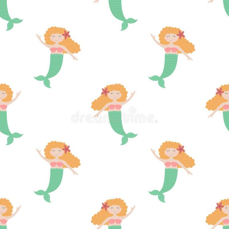 Modello senza cuciture di estate con le sirene sveglie con capelli rossi e la coda verde Illustrazione per il bambino, festa, fon royalty illustrazione gratis