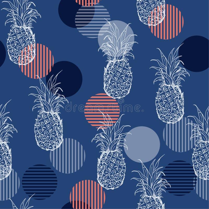 Modello senza cuciture di estate dell'ananas fresco d'avanguardia del profilo con Han illustrazione di stock
