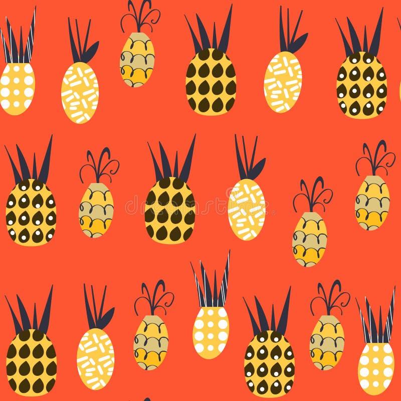 Modello senza cuciture di fantasia degli ananas È situato in campione me royalty illustrazione gratis