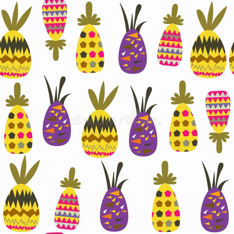 Modello senza cuciture di fantasia degli ananas È situato nel menu del campione, immagine Fondo sveglio delle mattonelle per prog illustrazione vettoriale