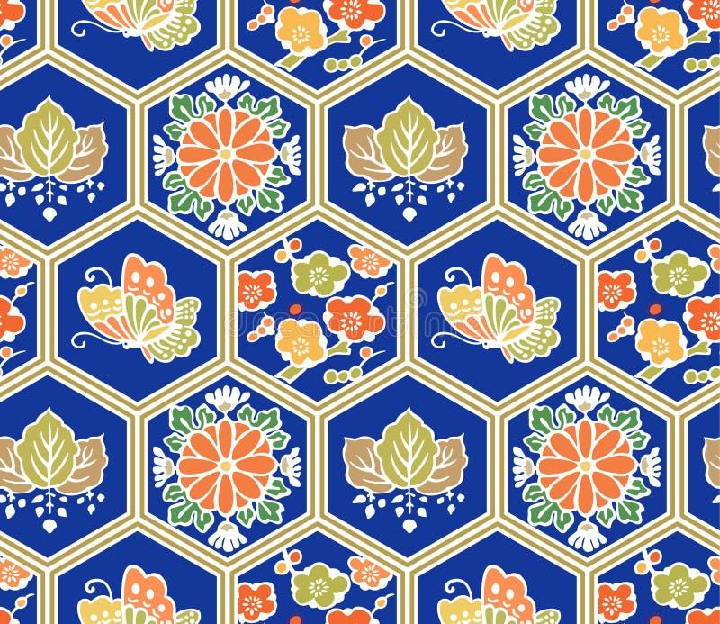 Modello senza cuciture di farfalla del fiore di esagono giapponese della foglia illustrazione vettoriale