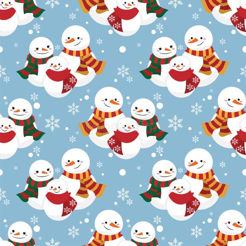 Modello senza cuciture di ferie di Natale con il modello senza cuciture della famiglia e del fiocco di neve del pupazzo di neve illustrazione vettoriale