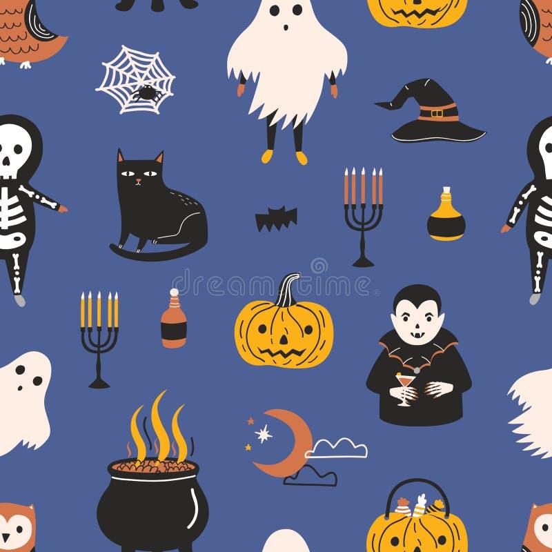 Modello senza cuciture di festa con i caratteri e gli oggetti magici spaventosi divertenti su fondo scuro - fantasma, scheletro,  illustrazione di stock