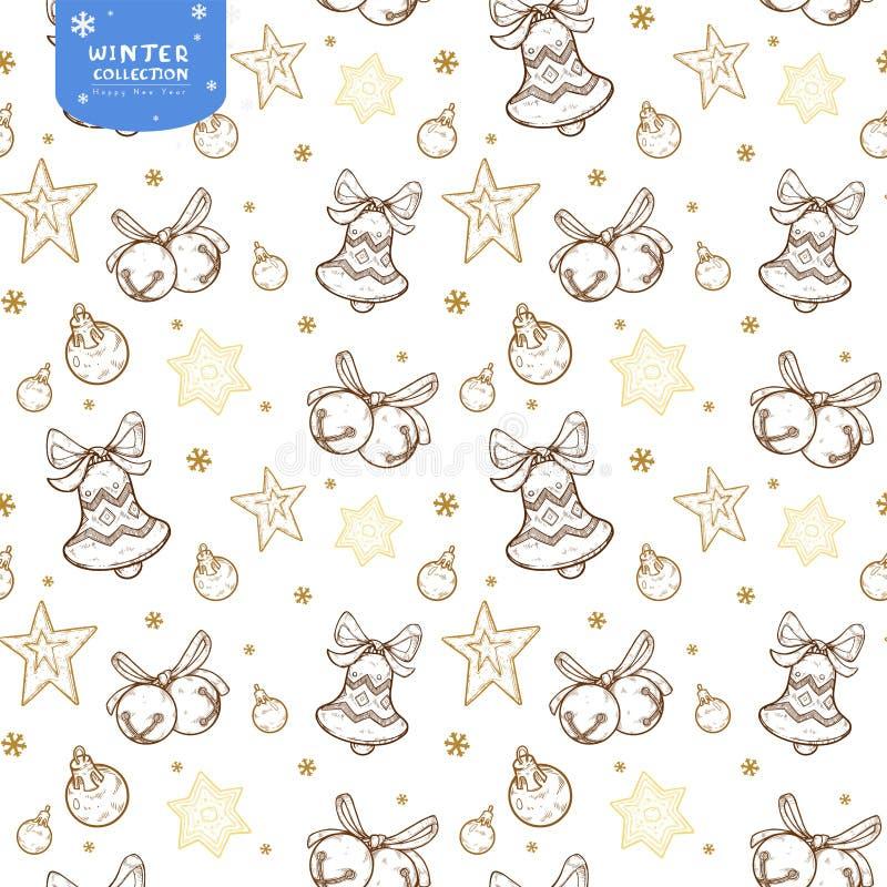 Modello senza cuciture di festa con le campane, le palle di Natale e le stelle nei colori dorati su fondo bianco royalty illustrazione gratis