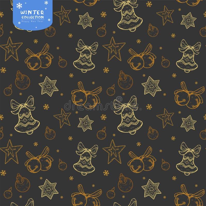 Modello senza cuciture di festa con le campane, le palle di Natale e le stelle nei colori dorati su fondo scuro royalty illustrazione gratis
