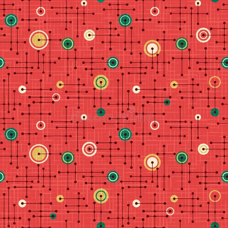 Modello senza cuciture di festa retro nel rosso e nel verde illustrazione vettoriale