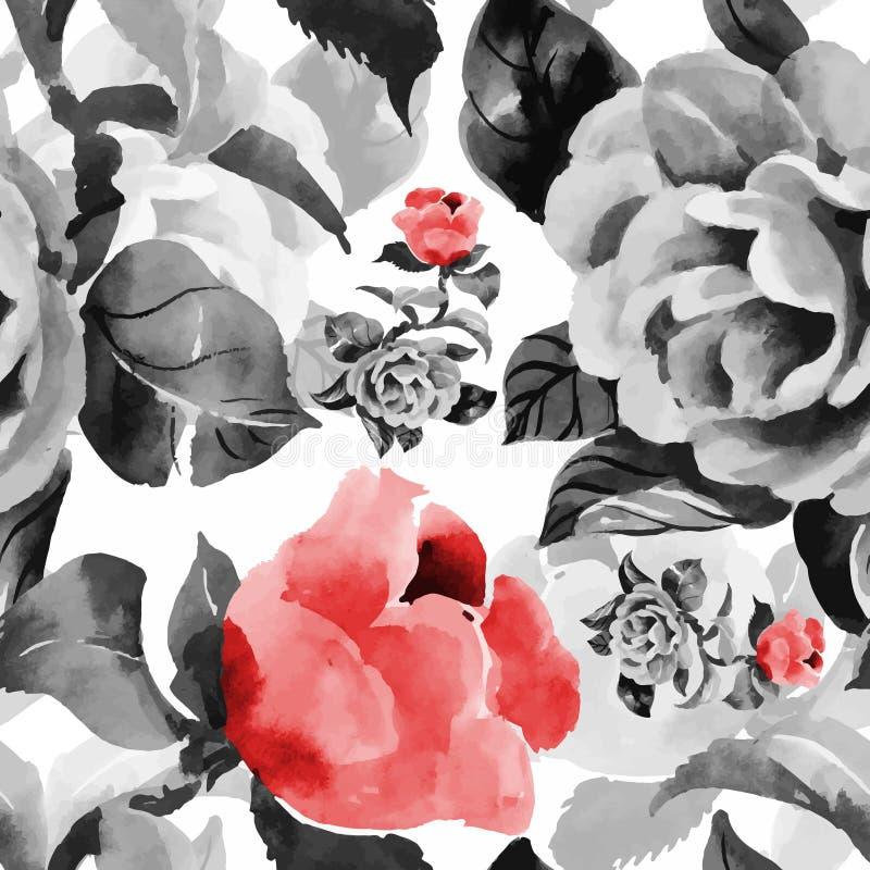 Modello senza cuciture di fioritura dei fiori del bello dell'acquerello giardino di estate illustrazione vettoriale