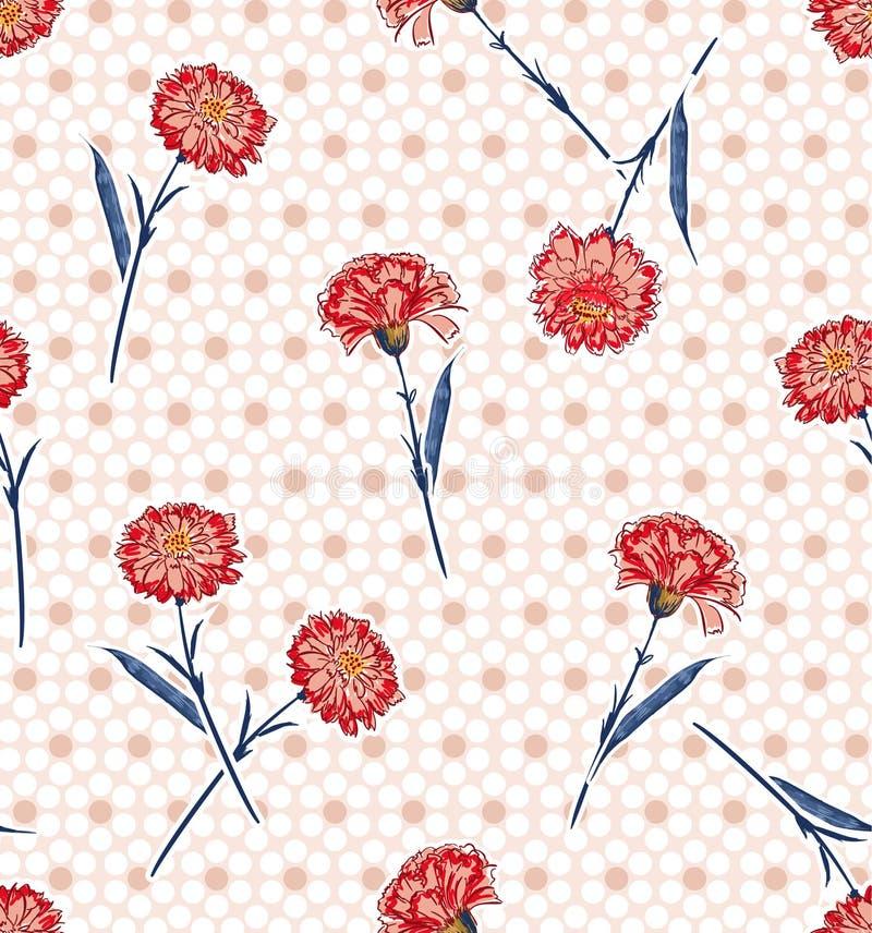 Modello senza cuciture di fioritura dei fiori rosa disegnati a mano del garofano di estate sui pois moderni sul fondo rosa-chiaro royalty illustrazione gratis