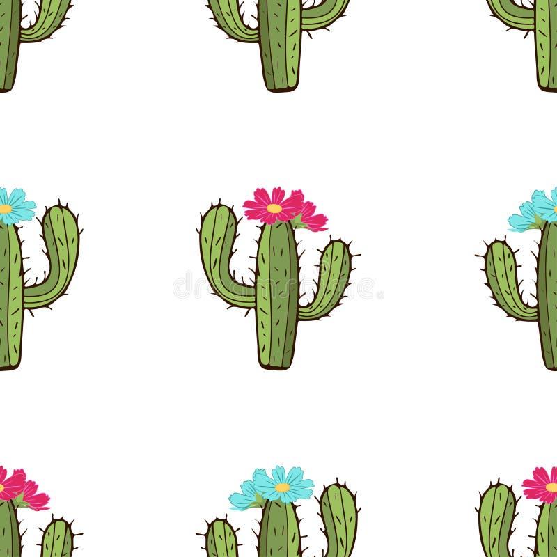 Modello senza cuciture di fioritura del cactus, disegno della mano, illustrazione di vettore illustrazione di stock