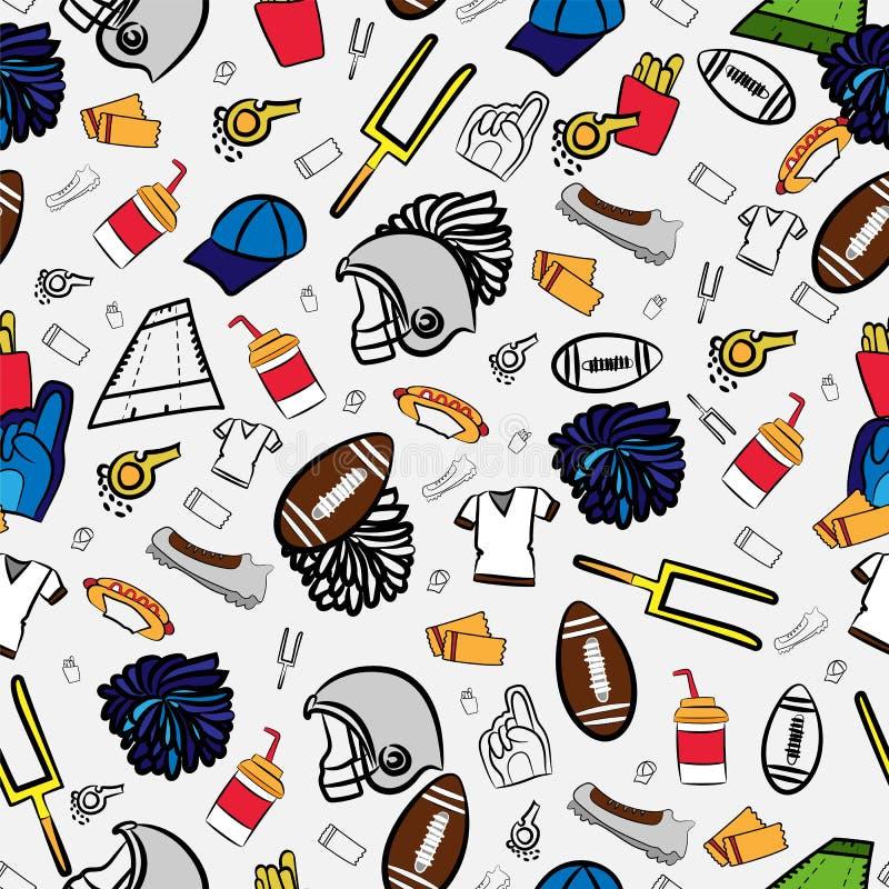 Modello senza cuciture di football americano interamente circa football americano illustrazione vettoriale