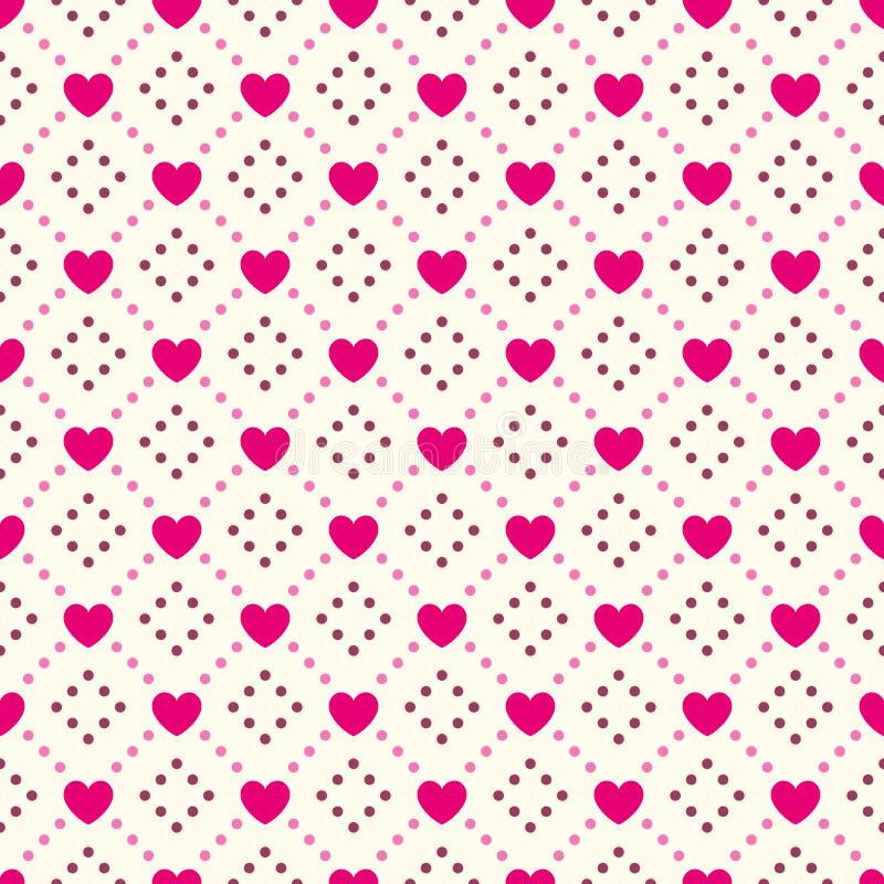 Modello senza cuciture di forma del cuore Colore rosa e bianco illustrazione di stock