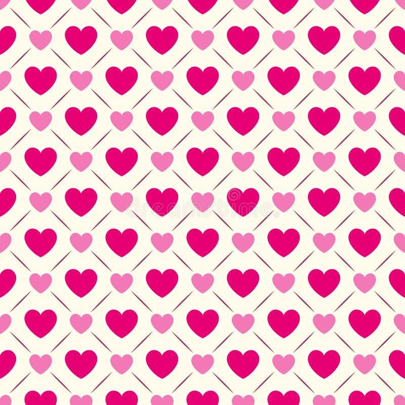 Modello senza cuciture di forma del cuore Colore rosa e bianco royalty illustrazione gratis
