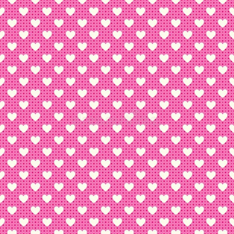 Modello senza cuciture di forma del cuore Colore rosa e bianco illustrazione vettoriale