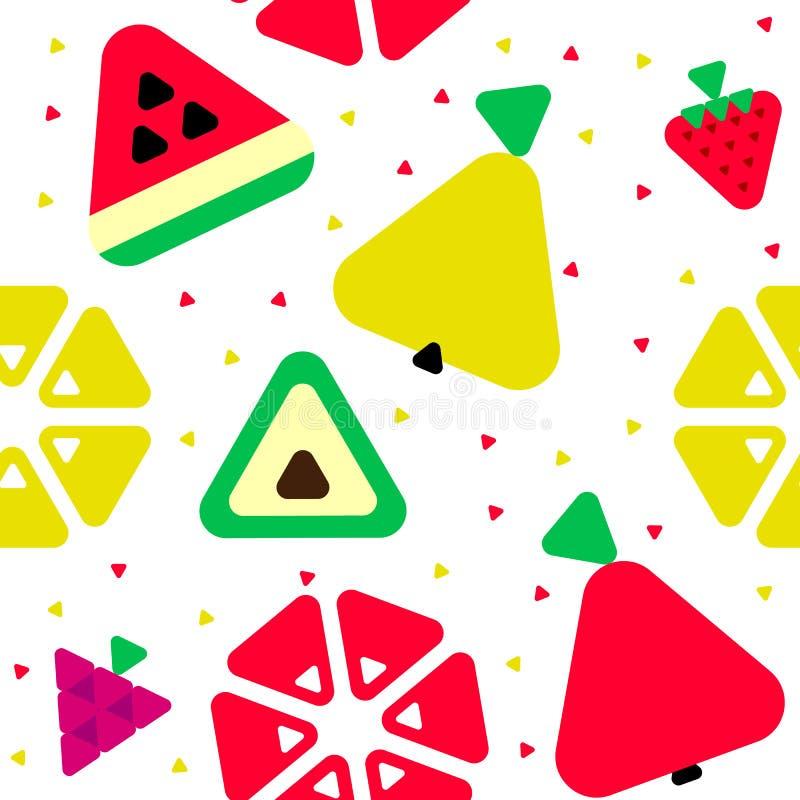 Modello senza cuciture di frutti geometrici del triangolo illustrazione di stock