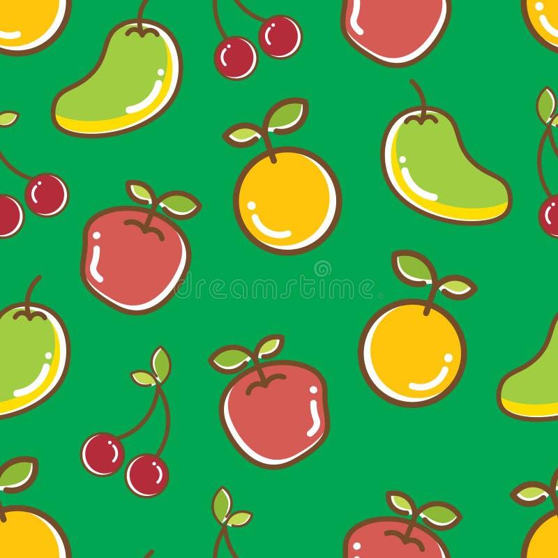 Modello senza cuciture di frutti, mango di buon umore arancio della mela immagine stock