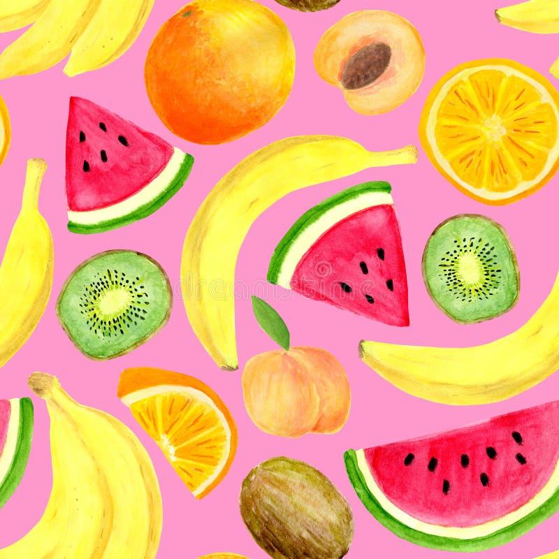 Modello senza cuciture di frutti tropicali dell'acquerello Banana disegnata a mano, fetta del kiwi, pesca, anguria, arancia isola royalty illustrazione gratis