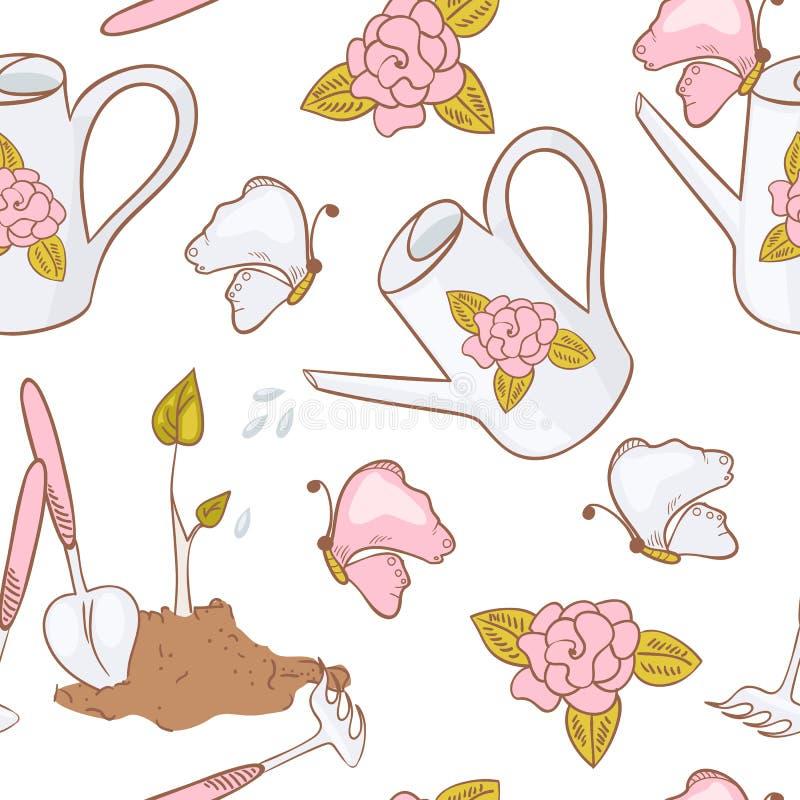 Modello senza cuciture di giardinaggio con la farfalla, l'annaffiatoio, gli strumenti di giardino ed il germoglio illustrazione di stock