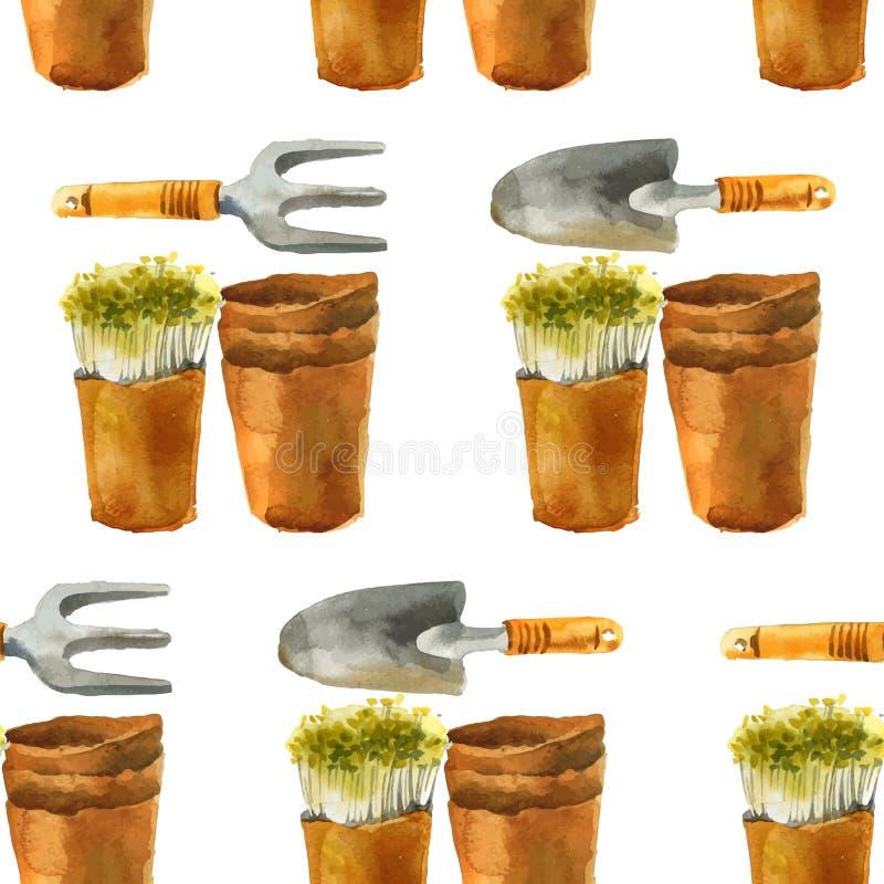 Modello senza cuciture di giardinaggio dell'acquerello illustrazione di stock