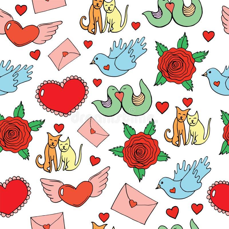 Modello senza cuciture di giorno del ` s del biglietto di S. Valentino con i cuori, uccelli, gatti, rose illustrazione vettoriale