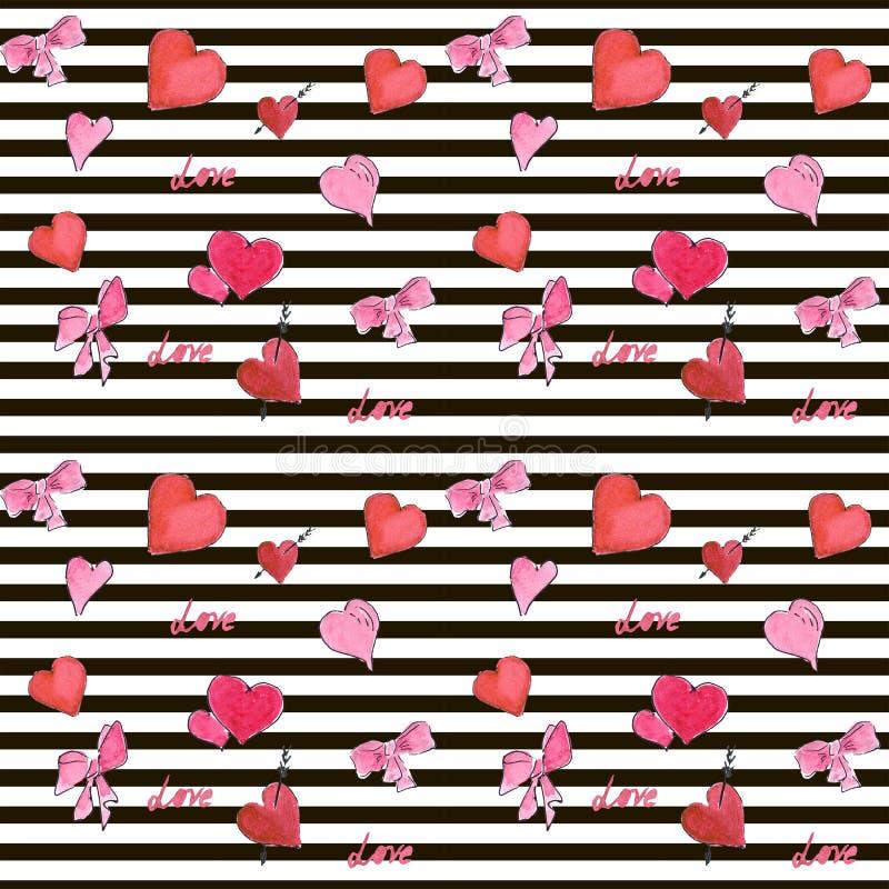 Modello senza cuciture di giorno di biglietti di S. Valentino con i cuori dell'acquerello sulla banda illustrazione di stock