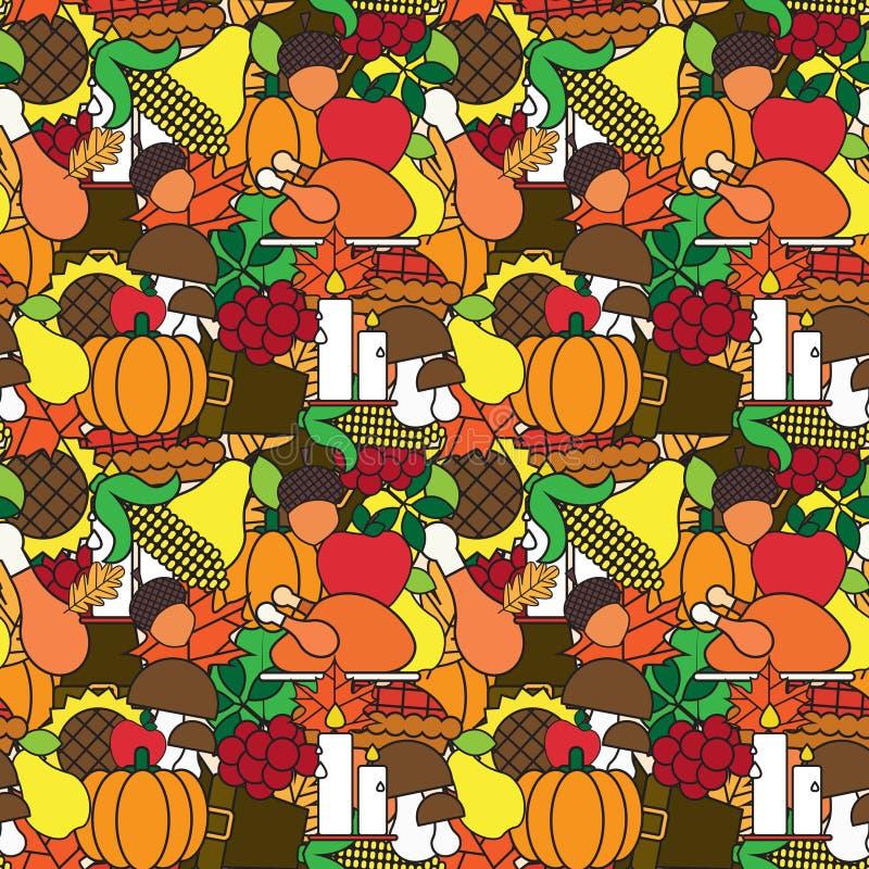 Modello senza cuciture di giorno felice di ringraziamento con le verdure Autumn Traditional Holiday Ornament del raccolto e della illustrazione di stock