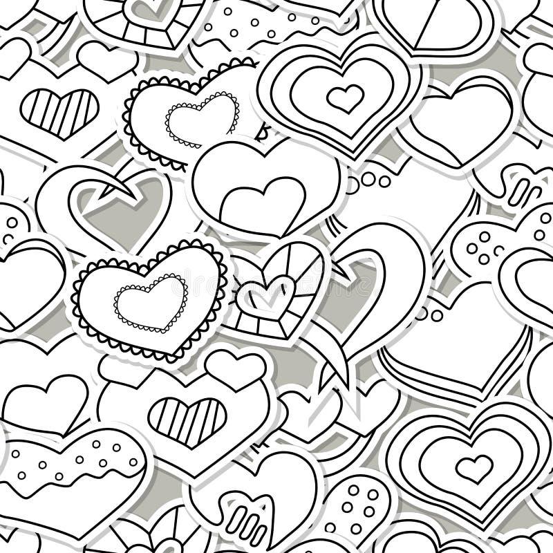 Modello senza cuciture di giorno di S. Valentino con i cuori in bianco e nero illustrazione di stock