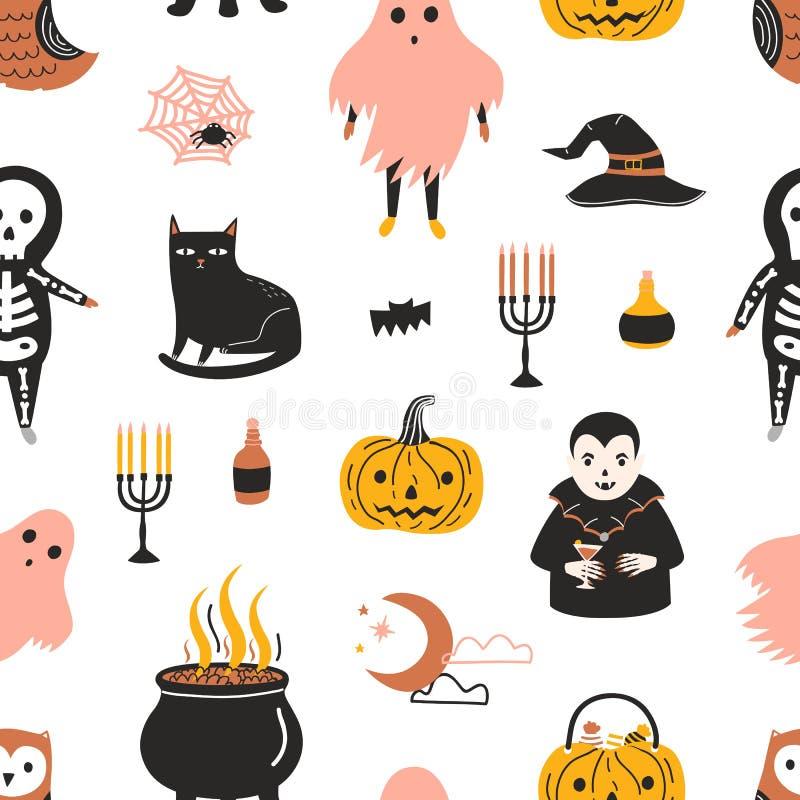Modello senza cuciture di Halloween con i caratteri magici spaventosi e spettrali di favola su fondo bianco - fantasma, scheletro illustrazione vettoriale