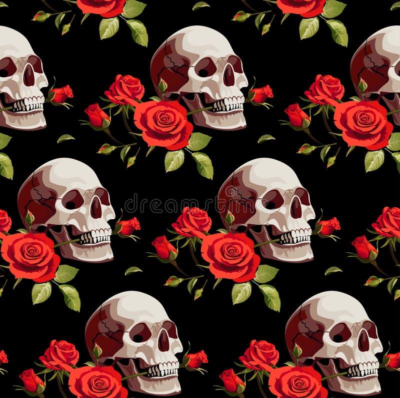 Modello senza cuciture di Halloween con i crani e le rose rosse su un fondo nero royalty illustrazione gratis