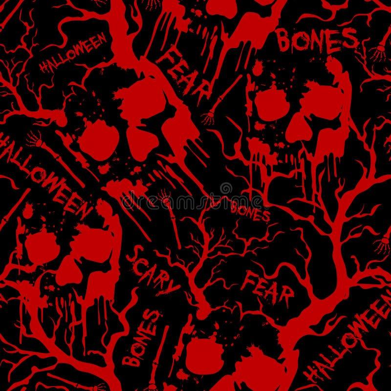 Modello senza cuciture di Halloween con i crani, le ossa, gli alberi e le parole rossi Fondo di vettore Struttura del tessuto illustrazione di stock