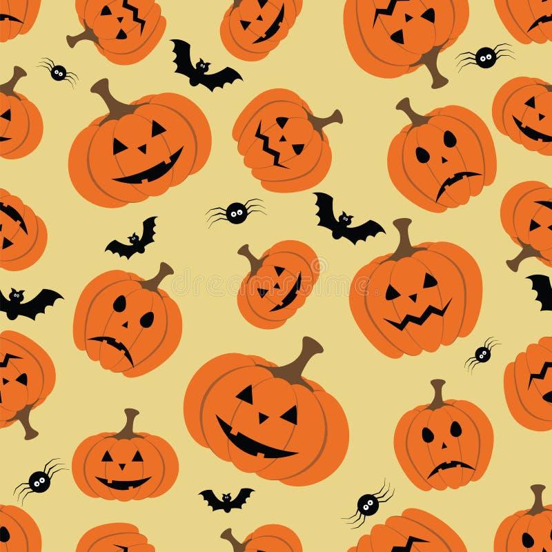 Modello senza cuciture di Halloween con la zucca, il pipistrello ed il ragno illustrazione di stock