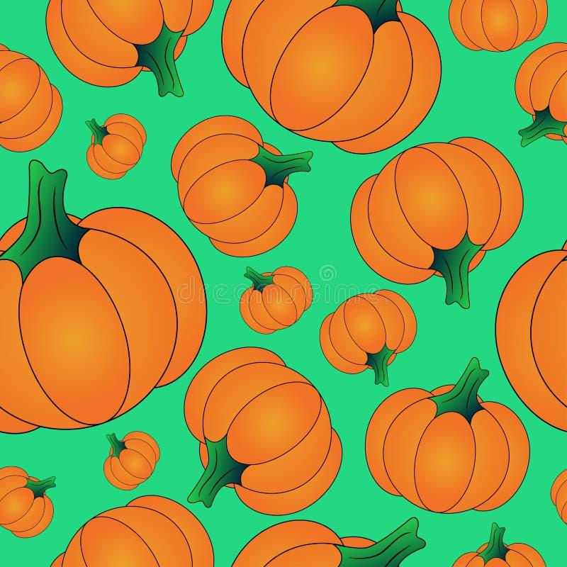 Modello senza cuciture di Halloween del fondo arancio della zucca, illustrazione su fondo verde royalty illustrazione gratis