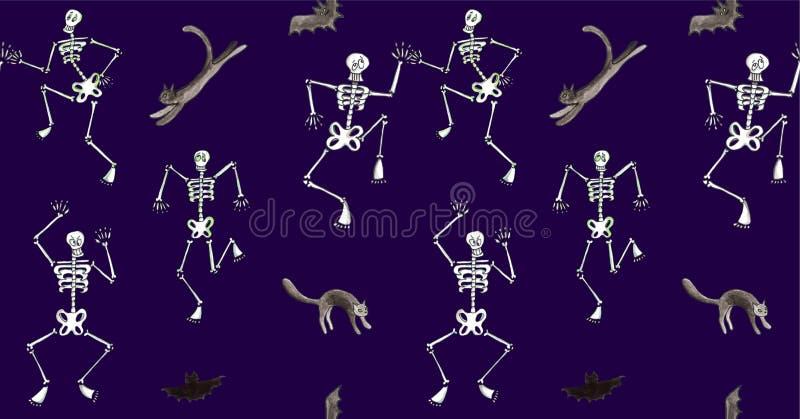 Modello senza cuciture di Halloween dell'acquerello Ballare di scheletro divertente con i gatti ed i pipistrelli royalty illustrazione gratis