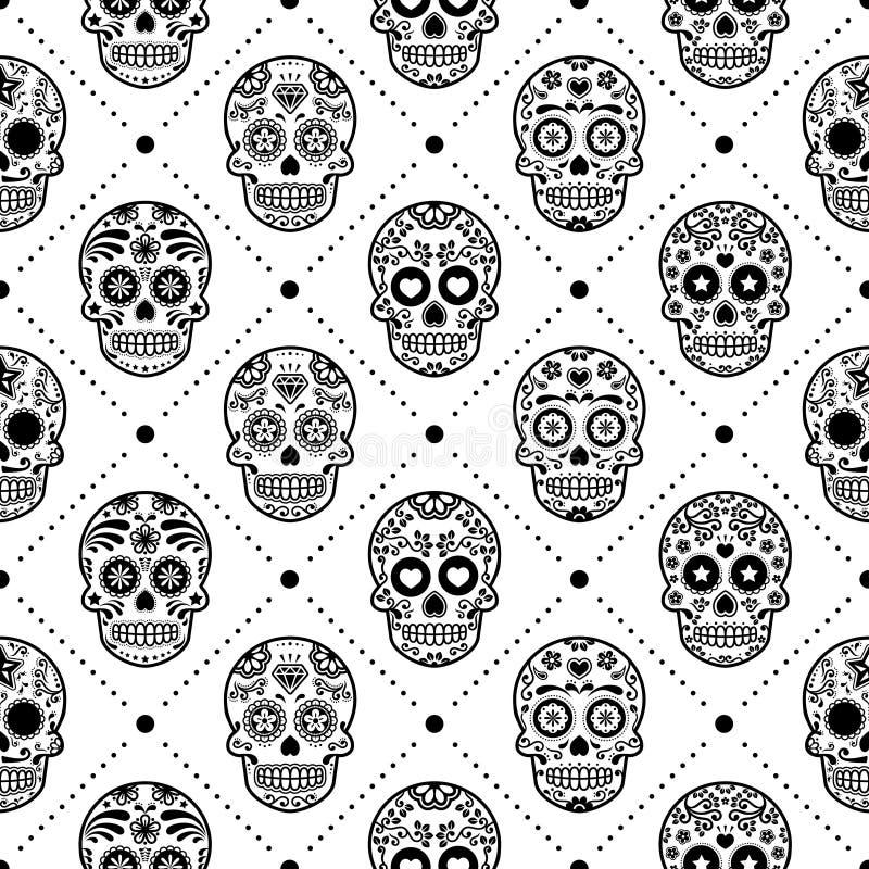 Modello senza cuciture di Halloween, progettazione messicana di vettore del cranio dello zucchero, Dia de los Muertos, fondo di C illustrazione vettoriale