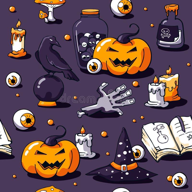Modello senza cuciture di Halloween su fondo viola Mano disegnata a mano dello zombie degli oggetti di vettore, candele, corvo, p royalty illustrazione gratis