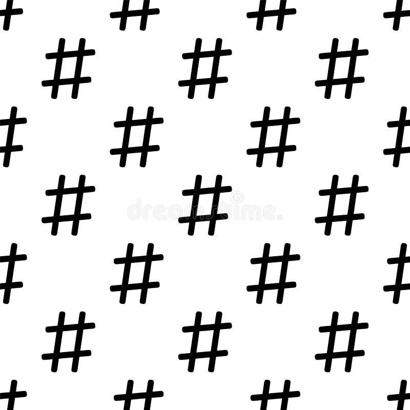 Modello senza cuciture di Hashtag su bianco Colori in bianco e nero royalty illustrazione gratis