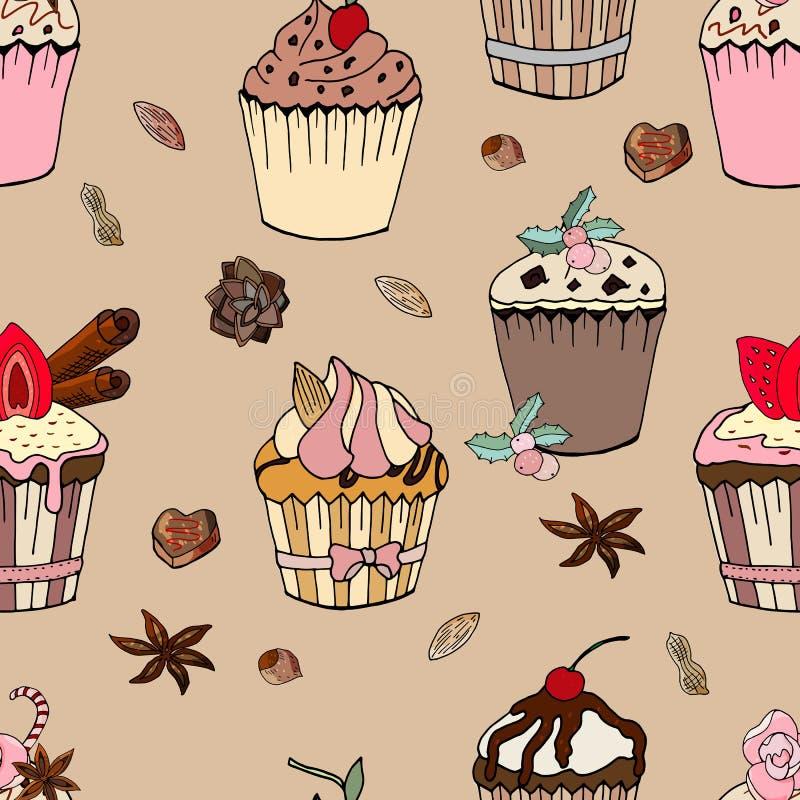 Modello senza cuciture di hristmas del ¡ di Ð con i dessert VETTORE SENZA CUCITURE DEL MODELLO DI BUON NATALE illustrazione di stock